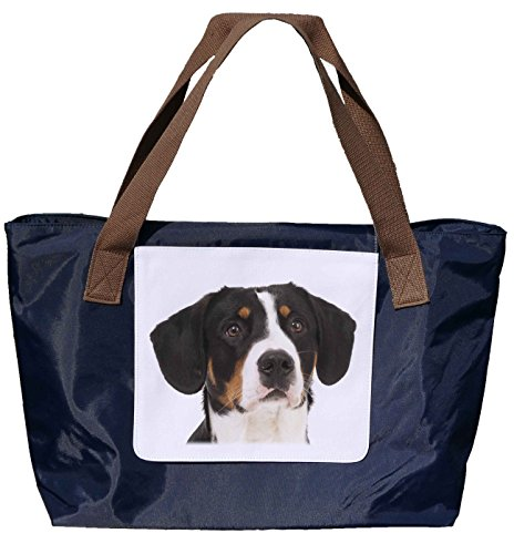 Shopper /Schultertasche / Einkaufstasche / Tragetasche / Umhängetasche aus Nylon in Navyblau - Größe 43x33cm - Motiv: Entlebucher Sennenhund Porträt- 01