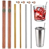 Eco-Friendly Reusable, Premium Stainless Steel Smoothie Straws 8Pcs 8.5'' Reusable Straws With Case Metal Straws for Yeti/Ozark+2Pcs Wooden Carrying Cases+4pcs Cleaning Brushes+ 1 Linen Pouch