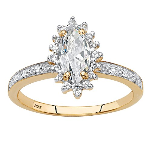 - 18K Gold over Silver Marquise Cut Created White Sapphire and Diamond Accent Engagement Ring Size 9