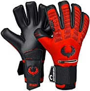 Renegade GK Eclipse Diablo Professional Goalie Gloves with Pro Finger Protection   4mm EXT Contact Grip   Red