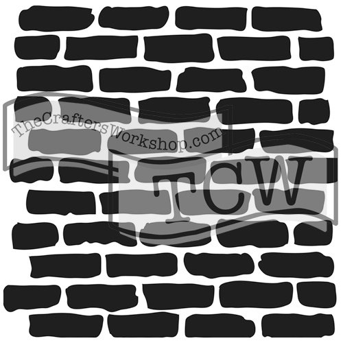 The Crafter's Workshop Set of 2 Stencils - Bricks - 12x12 Large and 6x6 inch Mini - Includes 1 each TCW191 and TCW191s - Bundle 2 - Wall Stencil Brick