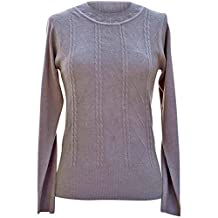 Luxury Divas Cable Knit Crew Neck Long Sleeve Sweater