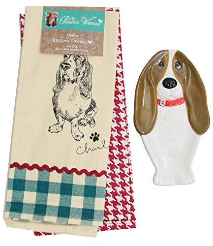 The Pioneer Woman Charlie 2-Piece Kitchen Towel Set and Matching Charlie Spoon Rest, Adorable Charlie Bundle.