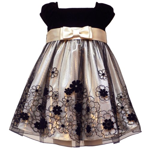 Rare Editions Baby/INFANT 12M-24M2-Piece GOLD LAME FLOCKED FLORAL BORDER MESH OVERLAY Special Occasion Holiday Pageant Party Dress
