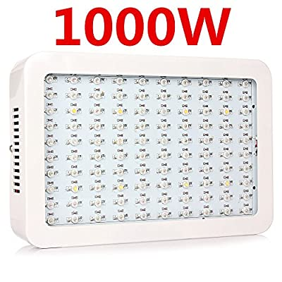 Full Spectrum Hydroponics LED Grow Light Bulb Lamp-1000W(10W Double chip ,100leds)- Best of all Plant Lights for Indoor Plant Flowering Growing and Medicinal Plants (1000W-100leds)