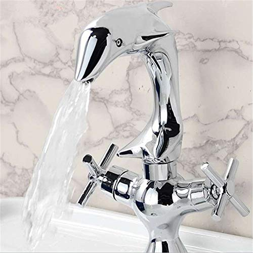 (Brass Dolphin Style Basin Faucet Double Handle Bathroom Dual Hole Mixers Hot and Cold Water Chrome Polished Deck Mounted)