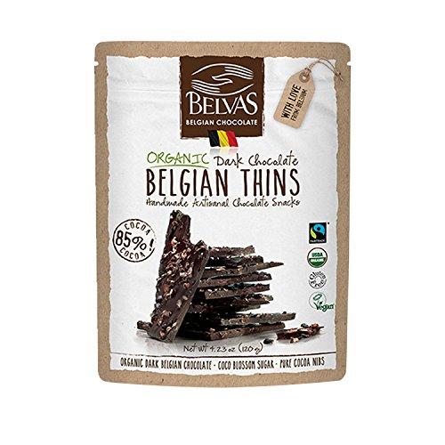 (Belvas Belgian Thins Organic Dark Chocolate 85% Coco Blossom Sugar 120g)