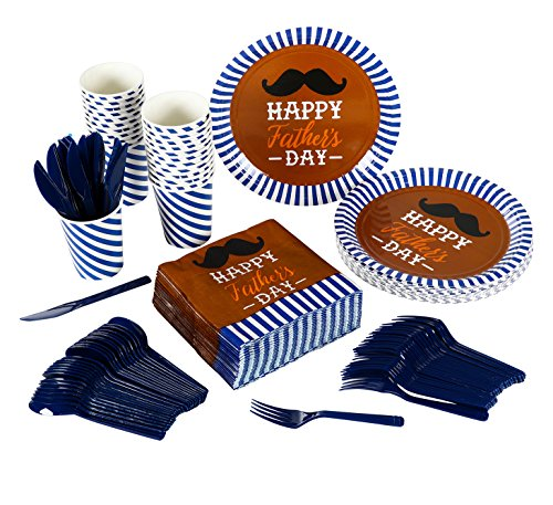 Decorations Day Fathers (Disposable Dinnerware Set - Serves 24 - Father's Day Party Supplies, Paper Party Favors, Mustache Design - Includes Plastic Knives, Spoons, Forks, Paper Plates, Napkins, Cups)
