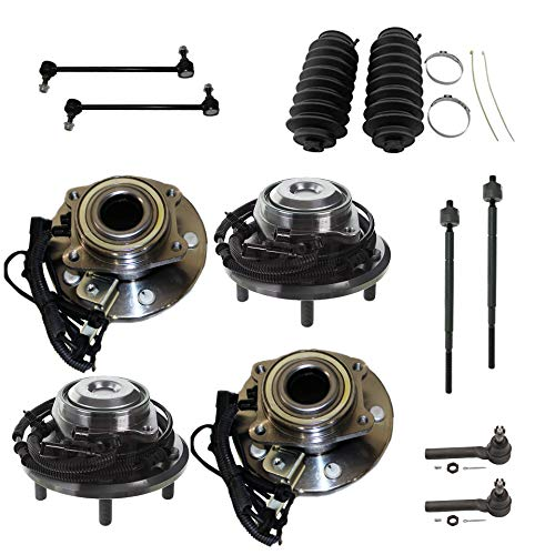 Detroit Axle - 12PC Front and Rear Wheel Bearing & Hubs w/Sway Bars, Tie Rods and Rack Boots for 2008 2009 2010 2011 2012 2013 2014 2015 2016 Chrysler Town&Country/Dodge Grand Caravan 2WD