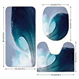 3 Piece Bathroom Mat Set,Ocean Decor,Tropical Surfing Wave on a Windy Sea Indonesia Sumatra Decorative,,Bath Mat,Bathroom Carpet Rug,Non-Slip