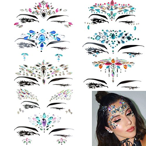 8 Sets Face Jewels Colorful Glitter Face Gems Sticker, Rhinestone,Bindi Crystals, Temporary Decorations for Eyes Face Forehead Body on Music Rave Festivals by Youyuan