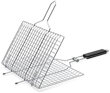 MIAO. Barbecue Griller Panier, Portable Grill Panier Pliable BBQ Grill BBQ Net Accessoires pour rôti Poissons Légumes Fruits de mer de crevettes (32 x 21,5 cm)