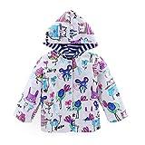 LZH Kids girls Jacket Waterproof Outwear Raincoat Hoodies Doodle 4T(For Age 4Y)