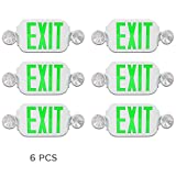 eTopLighting [6 Pack] LED Red Exit Sign Emergency Light Combo with Battery Back Up UL924 ETL listed, Green Lettering in White Body, Bug Eye Side Light, AGG2197