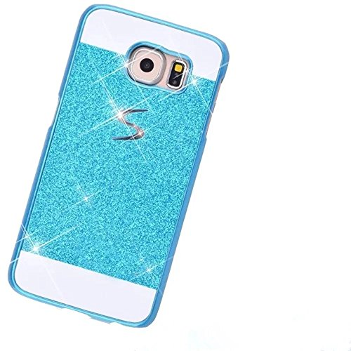 KSHOP Bling Case Coque for Samsung Galaxy S7 Edge Bling Sparkling Hard Case Perfect Fit Glitter Shinning Back CoverEtui Housse Anit-scratch Practical Protective Bumper Shell - Blue Bleu