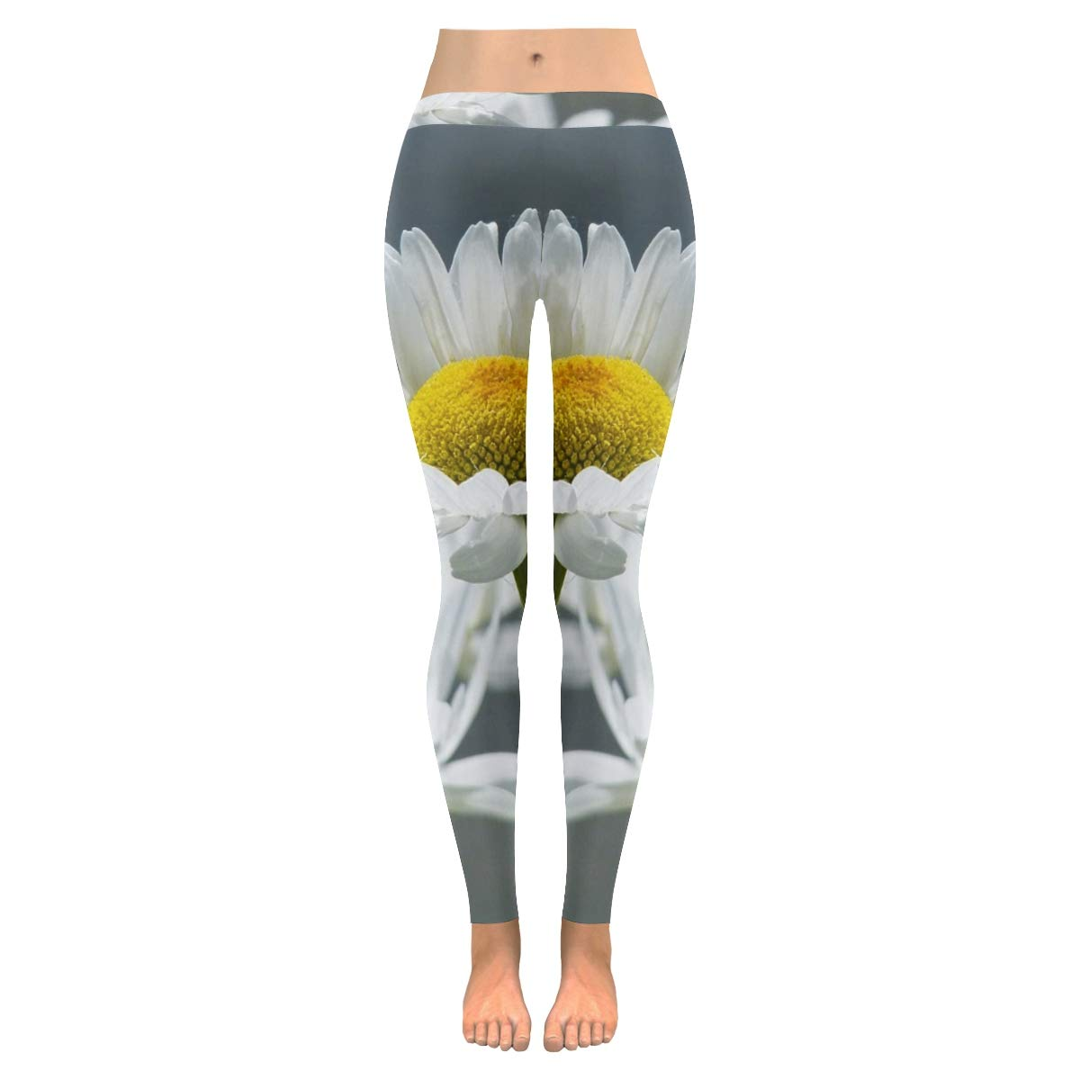 Low Waist Workout Leggings for Women Women in Leggings Daisies Flowers Wild Flow