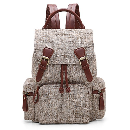 ECOSUSI Women Backpack College Travel Rucksack Vintage Casual Daypack with Drawstring for Teen Girls, Brown