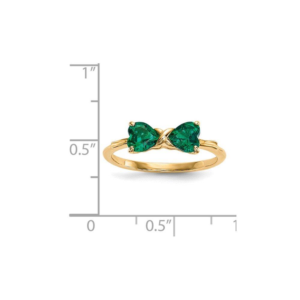 Mia Diamonds 14k Yellow Gold Gold Polished Created Emerald Bow Ring
