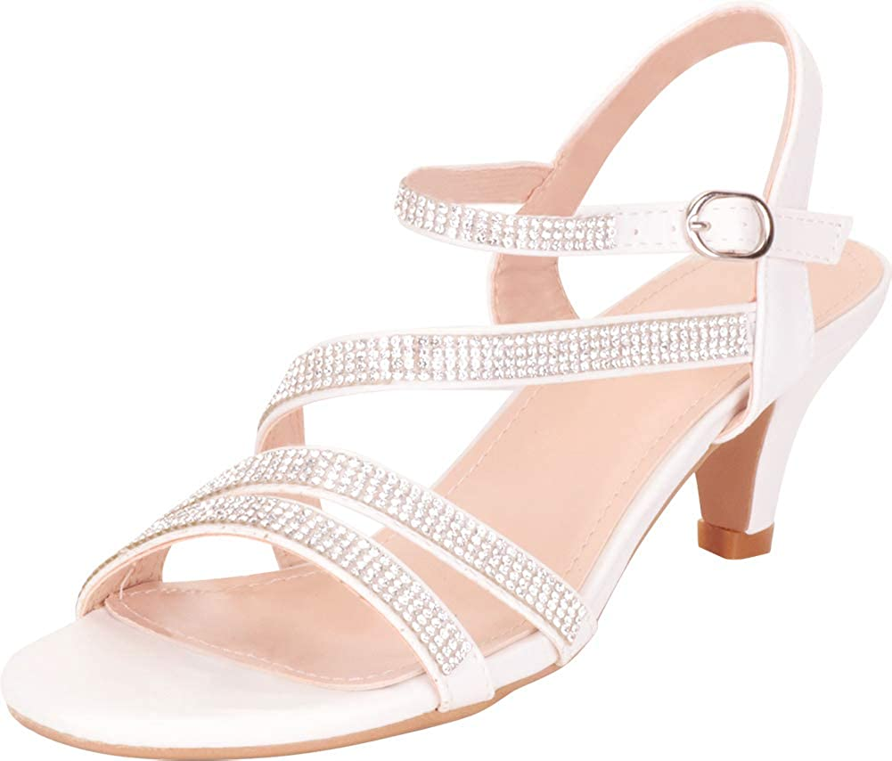 White Pu Cambridge Select Women's Strappy Crystal Rhinestone Mid Heel Dress Sandal