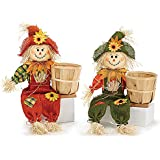 Boy and Girl Autumn Scarecrows Holding Bamboo Basket