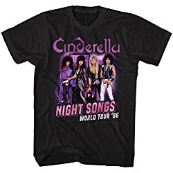Cinderella Rock Band Night Songs Tour Black 2-Sided Adult T-Shirt Tee