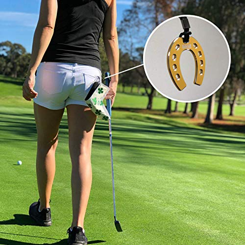(SelfieTotem Putter Head Cover Keeper - Clip on Leash for Secure Golf Luxury Accessories | Stop Losing, Experience Lucky Horseshoes, Putt Trainer for Speed Control - Gold )