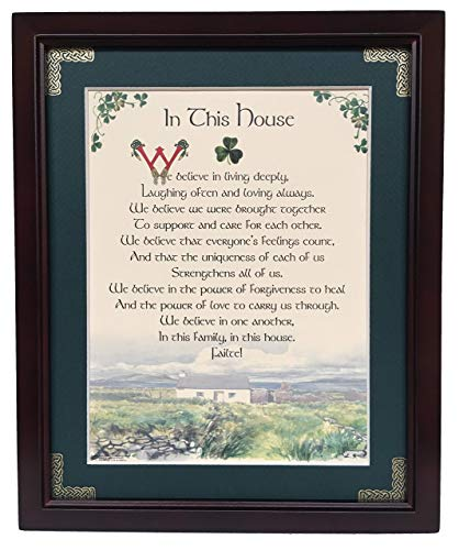 In This House - We believe in living deeply - Personalizable Framed Green Matted Blessing