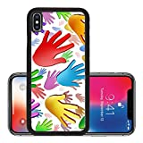 Liili Premium Apple iPhone X Aluminum Backplate Bumper Snap Case ID: 26963854 Volunteer hands community concept as a symbol of a group of colorful human hands raised in the air rep
