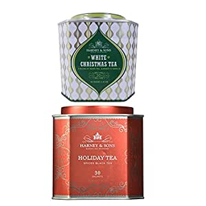 Tea Gift Set - White Christmas Tea and Holiday Tea by Harney & Sons - 60 Total Sachets to Enjoy Your Holiday Tea Set Year Round