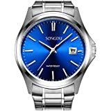 SONGDU Men's Date Stainless Steel waterproof Quartz Business Casual Wrist Watch Blue Dial