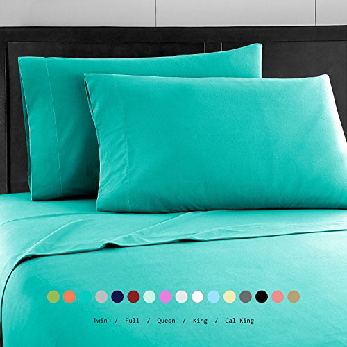 Prime Bedding Bed Sheets - 4 Piece Queen Sheets, Deep Pocket Fitted Sheet, Flat Sheet, Pillow Cases - Queen Sheet Set, Turquoise