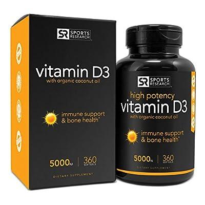 Sports Research Vitamin D3 (5000iu) with Organic Coconut Oil, 360 Mini-capsules