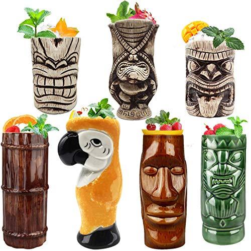 Tiki Mugs Cocktail Set of 7 – Large Tumblers Ceramic Hawaiian Luau Party Mugs Drinkware, Cute Exotic Cocktail Glasses…
