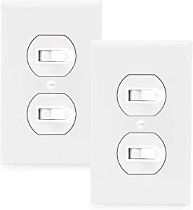 Maxxima AC Toggle Combination Switch White Wall Plates Included Duplex Switch 15 Amp (Pack of 2)