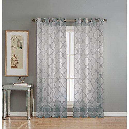 Window Elements Lattice Cotton Blend Burnout Sheer 76 x 84 in. Grommet  Curtain Panel Pair, Silver (Window Cotton)