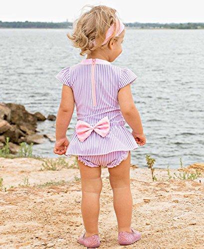 RuffleButts Little Girls Peplum Skirt One Piece Rash Guard Swimsuit - Lilac Seersucker - 2T by RuffleButts (Image #3)