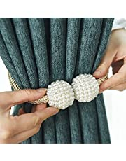 Pearl Magnetic Curtain Clip, 10 Tiebacks in One Pack, Beautiful Bright & Shiny Curtain Holders Tieback, Ball Buckle Clips, Nice and Modern Home Decor