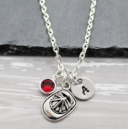 Firefighter Jewelry (Firefighter Girlfriend, Wife or Daughter Necklace - Personalized Birthstone & Initial - Firefighter Jewelry for Women - Fast Shipping)