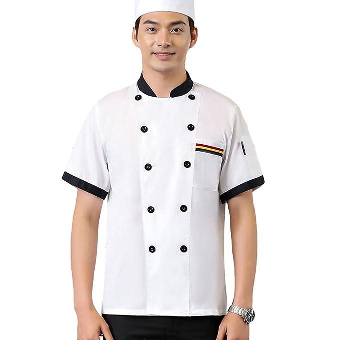 Dooxii Unisex Donna Uomo Estate Manica Corta Giacca da Chef Moda  Traspirante Cucina Mensa Hotel Uniformi Divise da Cuoco  Amazon.it   Abbigliamento 6a4ddc04ec54