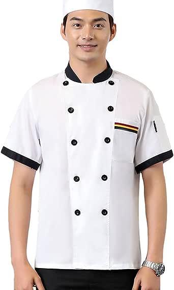 Dooxii Unisexo Mujeres Hombre Verano Manga Corta Camisa de Cocinero Moda Transpirable Chaquetas de Chef Uniforme Cocina Restaurante Occidental: Amazon.es: Ropa y accesorios