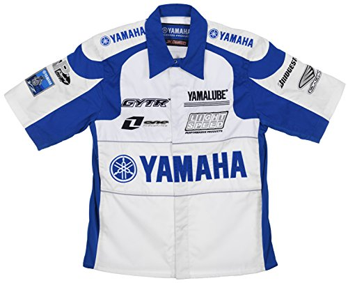 Yamaha Racing Team Embroidered Pit Shirts 3 Great Styles in Mens and Womens (X-Small, Royal Blue - White)