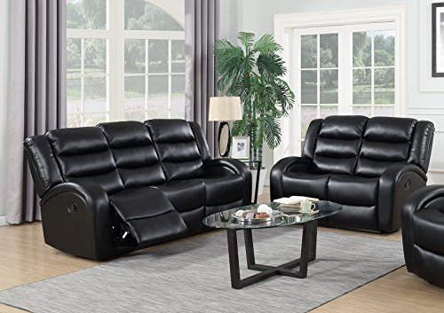 GTU Furniture Motion Sofa and Loveseat, 2Pc Living Room Pu Leather Pillow Top Backrest and Armrests Couch Set (Sofa and Loveseat, Black)