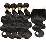 RUIMEISI 8A Brazilian Virgin Hair 4 Bundles with Closure 100% Unprocessed Human Hair Weave With Lace Closure Free Part(10 10 12 12+10)