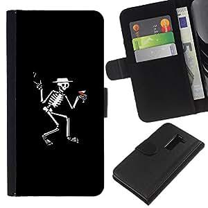 YiPhone /// Tirón de la caja Cartera de cuero con ranuras para tarjetas - Esqueleto de Martini divertido - LG G2 D800