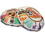 khushvin Vintage Sari Patchwork Floor Pillow Bohemian Indian Patchwork Floor Cushion Traditional Handmade Chair Pad Indian Patchwork Foot stool Ottoman 32 inch Round