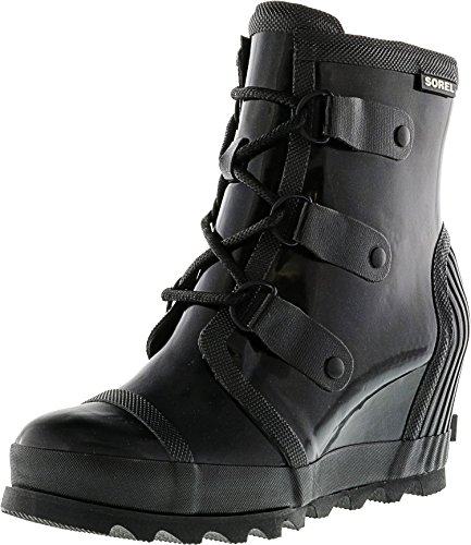 Women's Rain Salt SOREL Boots Sea Black Joan Wedge Gloss q6Hfwd