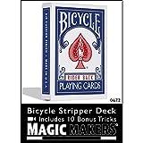 Magic Makers Bicycle Stripper Deck Blue With 10 Bonus Tricks.