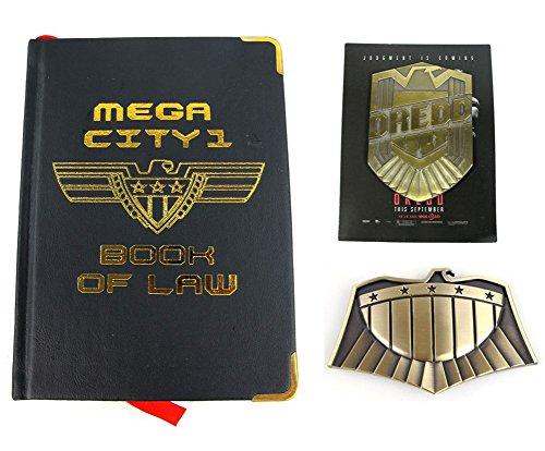 Judge Dredd Props Set of 3 Buckle Badge Book of Law Props Replica