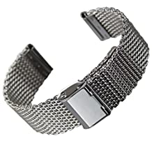 BlueBeach® 22mm Milanese Mesh Stainless Steel Watch Strap Bracelet Replacement for Pebble Time / Motorola 360 2nd Gen / Samsung Gear 2 R380 R381 R382 / LG G Watch W100 / LG G Watch R W110 / LG Watch Urbane W150 / Asus ZenWatch / Asus Vivowatch (Silver)
