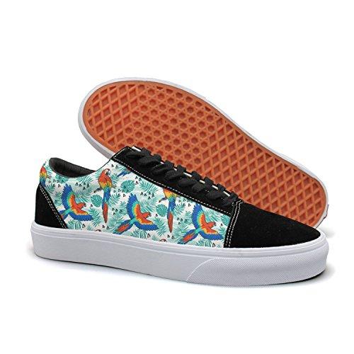 895d1f9a6f57a Hiokl Tropical Parrots Birds Pattern Women s Women s Women s Low-top Suede  Canvas Tennis Shoes Printingcasual